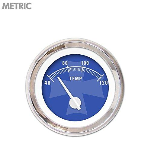 White Modern Needles, Chrome Trim Rings, Style Kit Installed Aurora Instruments 5285 Iron Cross Blue Metric Water Temperature Gauge