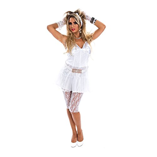 1980 Fancy Dress Costumes Uk (Womens 1980s Retro Diva Fancy Dress Costume - 4 Piece Quality Costume)