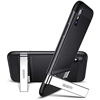 ESR Simplace Metal Kickstand Case for iPhone X/Xs, [Vertical and Horizontal Stand] [Reinforced Drop Protection] Hard PC Back with Flexible TPU Bumper for The iPhone X/XS, Black