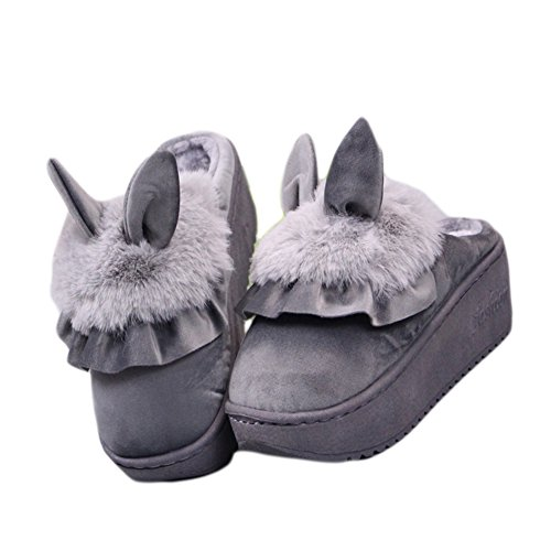 CYBLING Warm Cute House Slippers Plush Indoor Shoes Anti-Slip Thick Sole Gray NR2mT6b93X