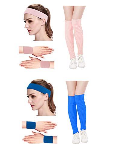 Kimberly's Knit Women 80s Neon Pink Running Headband Wristbands Leg Warmers Set (Free, Zblue+pink) -