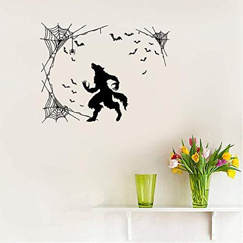 Naiuy Vinyl Removable Wall Stickers Mural Decal Art Werewolf Halloween Horror Fantasy Beast Bats