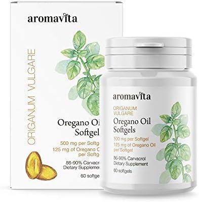 Aromavita Oregano Oil Capsules Non GMO and Gluten Free, Greek Oregano Oil Containing 108mg Per Serving Over 86-90 Carvacrol Oregano Oil Dietary Supplement 60 Softgels