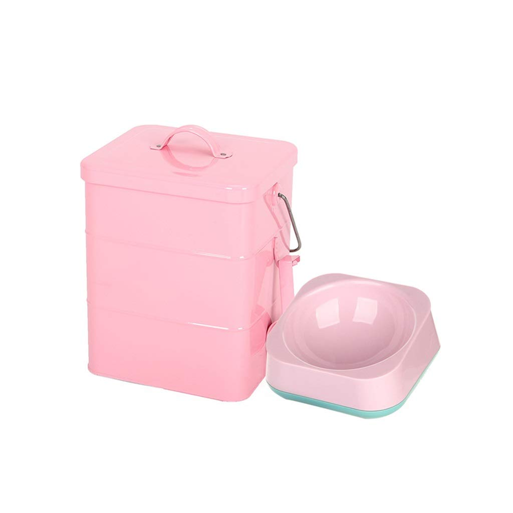 Pink 5L Square barrelGZ Pet Food Bin with Pet Bowl Pet Food Container Pet Food Storage Can Storage Bins Food Storage Container 1 Cup Measured Scoop (color   bluee, Size   5L Square barrel)