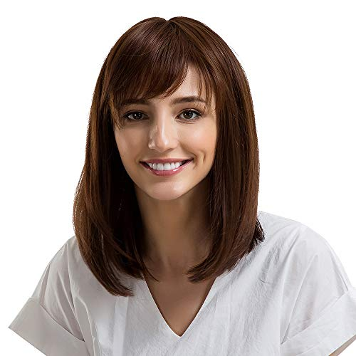 Anboo Short Bob Wig Party Custome Daily Synthetic Wigs Natural Short Bangs Straight/Curly Middle Length Watre Wave Wigs