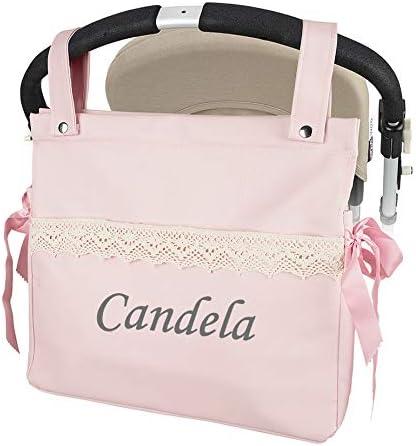 Bolso Talega Carrito bebe Personalizada Lactancia Polipiel Con Nombre Bordado - Color Rosa- Danielstore