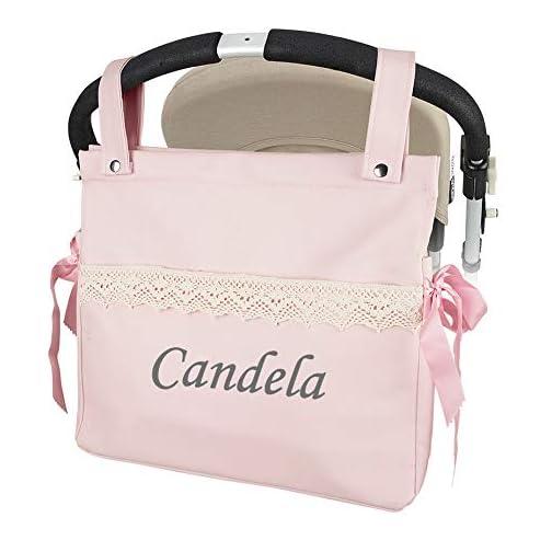 Bolso carrito de bebé con nombre bordado