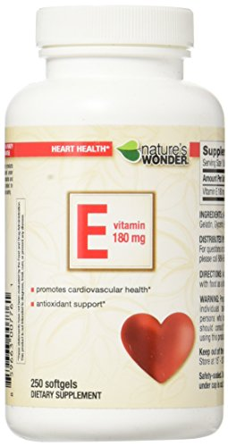 Cheap Nature's Wonder Vitamin E 180mg (400IU) Soft gels, 250 Count