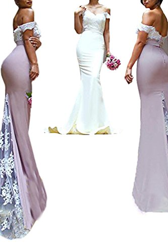 Custom Made Gowns - Honey Qiao Blush Lace Mermaid Bridesmaid Dresses Long Prom Party Gowns