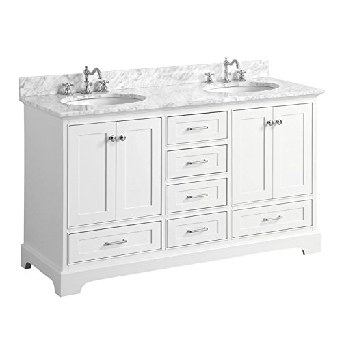 Harper 60-inch Double Bathroom Vanity (Carrara/White): Includes Authentic Italian Carrara Marble Countertop, White Cabinet with Soft Close Function, and White Ceramic Sink