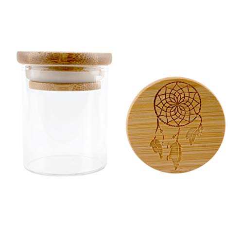 Hakuna Supply - Glass Storage Jars with Airtight Bamboo Lid, Multi-Use Containers for Herbs, Tea, Candy, Q-Tips, etc. for The Bedroom, Kitchen, and Bathroom (1/8 Oz, Dream Catcher)