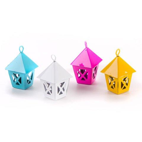 Mini Fairy Garden Metal Lantern Metal x 4 Pieces Assorted Colors