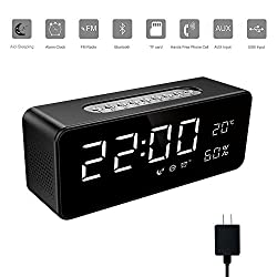 Soundance Electric Digital LED Alarm Clock Wireless FM Radio Portable Bluetooth Speaker Rechargeable with USB Built-in Mic for Bedroom Bedside Office Desk iPhone Android Laptop Desktop Computer, Black