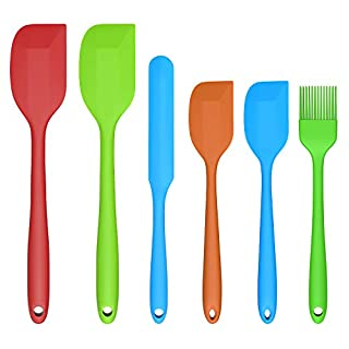 Silicone Spatula Set, Besteek 6 Pieces Kitchen Utensils Set for Baking Cooking & Mixing, Non-Stick Heat Resistant Food Grade Silicone Rubber Spatula One-Piece Design Kitchen Spatula
