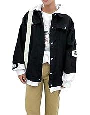 zhaoabao-AU Mens Casual Patchwork Slim Hoodie Denim Distressed Jacket Outwears