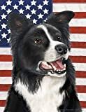 "Border Collie by Tamara Burnett Patriotic II House Dog Breed Flag 28"" x 40"""