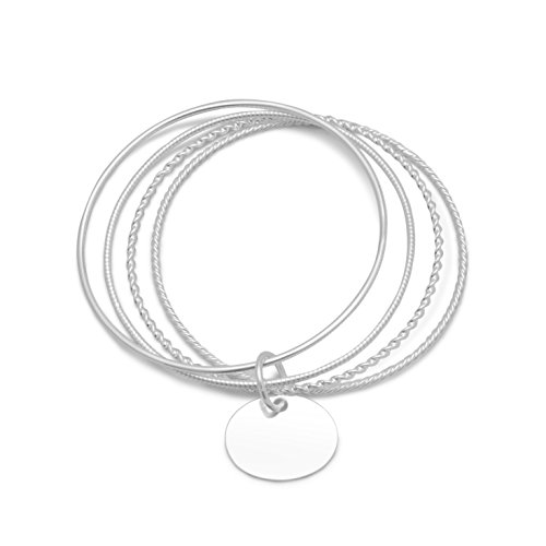 (Four 1.5-2mm Polished Sterling Silver Bangle Bracelets, 7-7/8 inch, 7/8 inch Oval Engravable Tag)
