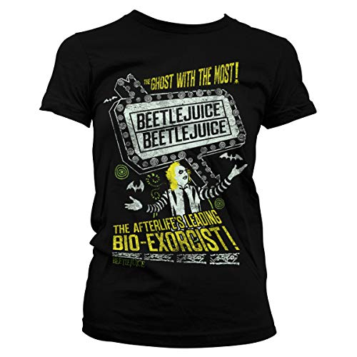 Beetlejuice Officially Licensed The Afterlife's Leading Bio-Exorcist Women T-Shirt (Black), Large