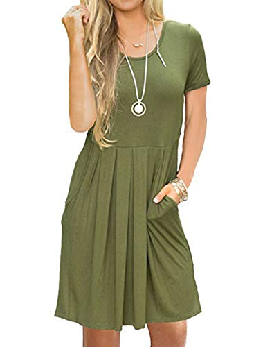 UPSTONE Vintage Dresses for Women with Sleeves, Ladies Round Neck Short Sleeve Midi Dress Side Pockets High Waist Swing Tunic Summer Shirts Olive Drab XXL
