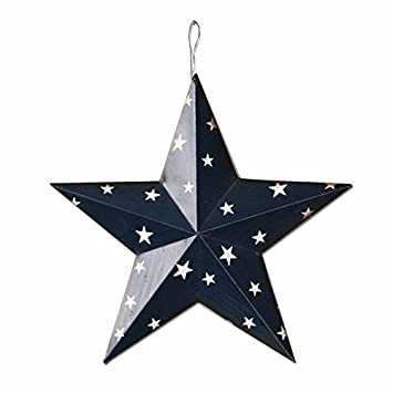 American Holiday Wall Decor Metal Barn 3D Star Barn Stars Decor (Blue)  Christmas Wall