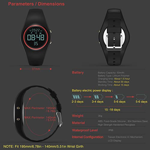 Synwoo Pedometer Smart Watch IP68 Waterproof Sport Wristwatch Fitness Tracker with Step Distance Calorie Alarm Clock and Timer Function for Kid Teenager and Adult (Black & Grey) by Synwoo (Image #4)