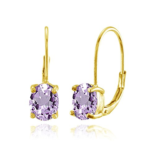Yellow Gold Flashed Sterling Silver Amethyst 8x6mm Oval Leverback (Amethyst February Earrings Jewelry)