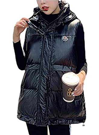 Women Hooded Metallic Quilted Down Vest Sleeveless Puffer Jacket Black M
