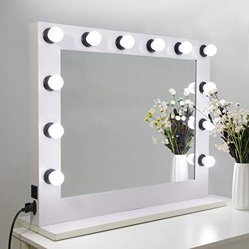 SUPER DEAL Plus Clear Hollywood Vanity Mirror with Light, Tabletop or Wall Mounted Makeup Mirror Lighted Vanity Glamour Mirror w/Dimmer, 12 LED Bulbs Included