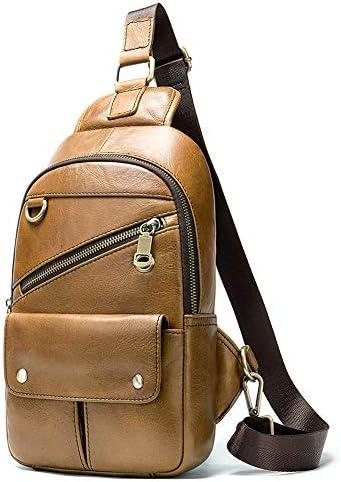 Vintage Men s Genuine Leather Sling Bag Crossbody Backpack Multipurpose Single Shoulder Chest Pack Style 10- Brown