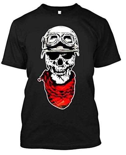 Adult Graphic Skull Helmet Motorcycle Glasses T Shirt X-Large Black