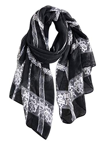 GERINLY Soft Women Hijab Scarf Fashion Lace Design Spring Summer Shawl Wrap (Black)