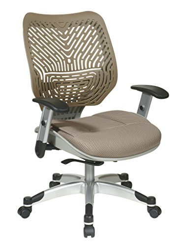 Spaceflex Back Managers Chair - SPACE Seating REVV Self Adjusting SpaceFlex Latte Backrest Support and Paddeed Latte Mesh Seat with Adjustable Arms and Platinum Finish Base Managers Chair