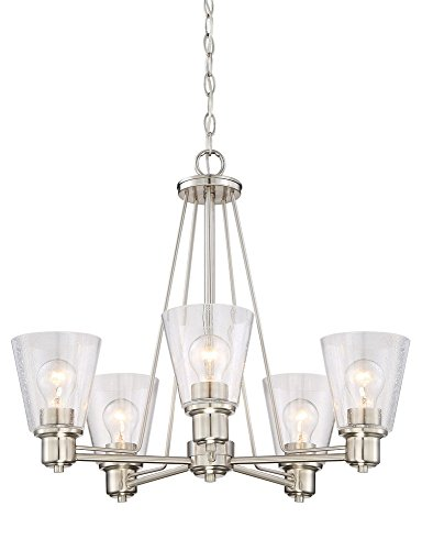 Designers Fountain 88085-SP Printers Row 5 Light Chandelier, Satin Platinum Satin Platinum 3 Light Pendant
