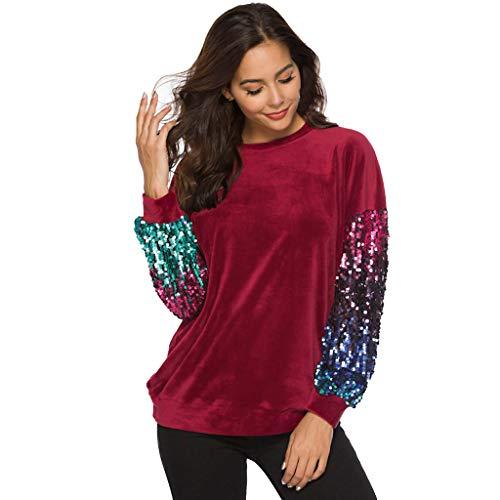 Damen Loose Hemd Lang Hemdbluse Top Pullover Bluse Langarm Stricken Sweatshirt