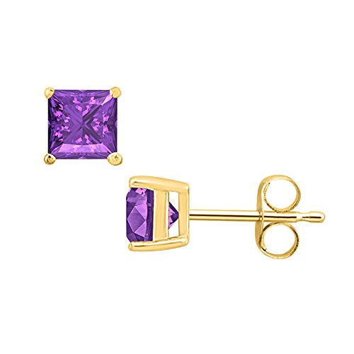(SVC-JEWELS (6MM) Princess Cut Purple Amethyst Solitaire Stud Earrings 14K Yellow Gold Over .925 Sterling Silver For Women's & Girls)