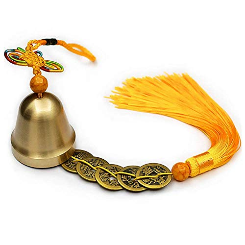 - Muzuri Chinese Feng Shui Bell Wind Chimes with Chinese Knot and Good Luck Five Emperor Coins for Wealth, Safe and Success (Gold)