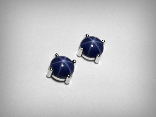 Blue Star Sapphire Earrings - Created blue star sapphire stud earrings, in solid sterling silver, post earrings with clutch backs.