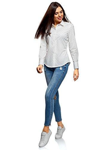 Femme en Coton Ultra Chemise 1279o oodji Blanc Basique 8IxSw51qX