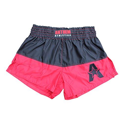 50/50 Muay Thai Shorts - Kickboxing, Thai Boxing - Black & Red - Large ()