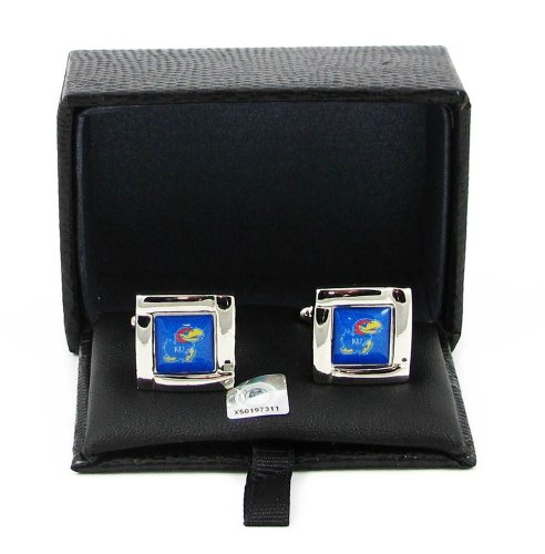NCAA Kansas Jayhawks Sports Team Logo Square Cufflinks Gift Box Set by aminco