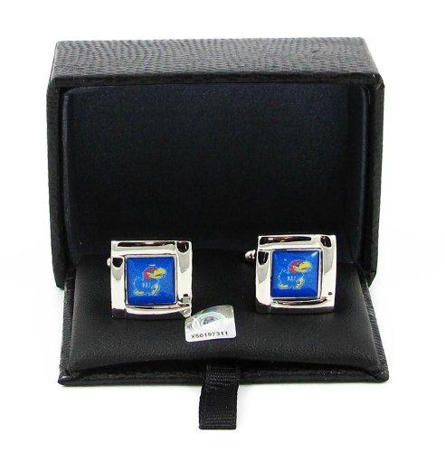 Kansas Jayhawks Cufflinks (NCAA Kansas Jayhawks Sports Team Logo Square Cufflinks Gift Box Set)