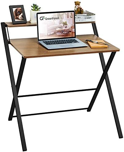 GreenForest Folding Computer Desk No Assembly Required 2 Tier Computer Desk