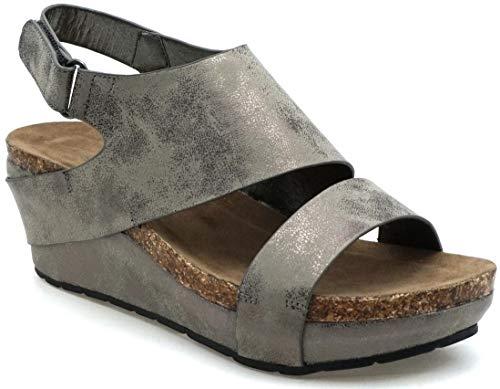 (MVE Shoes Women's Open Toe Strappy Platform Sandals, Chantal-6 Pewter 10)