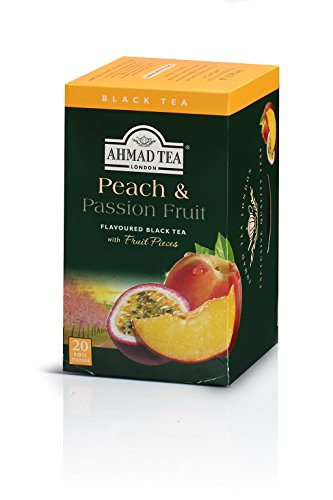 Ahmad Tea Peach & Passion Fruit Black Tea, 20-Count Boxes (Pack of 6)