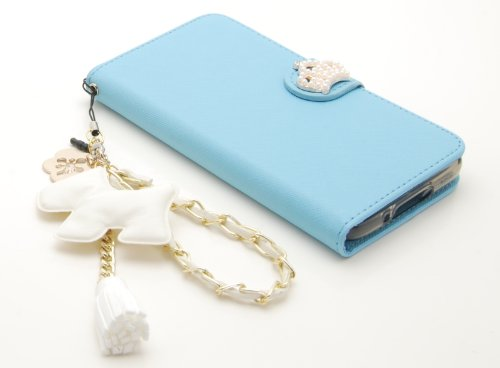 ZZYBIA® S5 TCD Light Blue Leatherette Stand Case Card Holder Wallet with a White Dog Fringed Dust Plug Charm for Samsung Galaxy S5 I9600