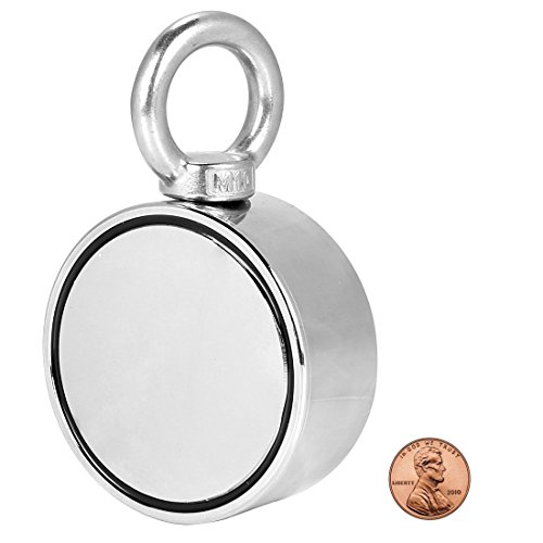 (Double Sided Round Neodymium Magnet with Eyebolt, Vertical tension 800 LBS , 2.95