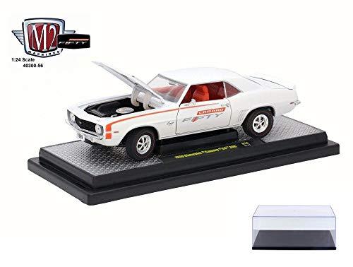 Castline M2 Diecast Car & Display Case Package - 1969 Chevy Camaro SS 396, Pearl White/Orange 40300/56A - 1/24 Scale Diecast Model Toy Car w/Display Case (Ss White Pearl)