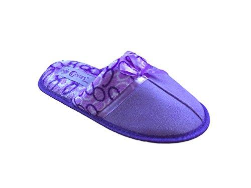 Cosies Damen Weicher Samt Hausschuh Purple