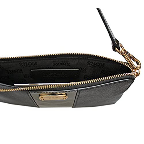 2d8dceca9c636 low-cost Michael Kors Metallic Center Stripe Large Leather Wristlet in Gift  Box