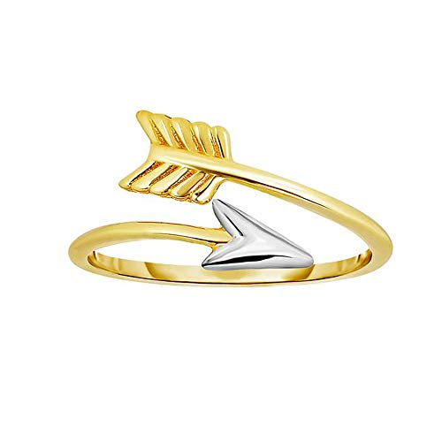 14k Two Tone Gold Bypass Arrow Ring, Size 7 ()